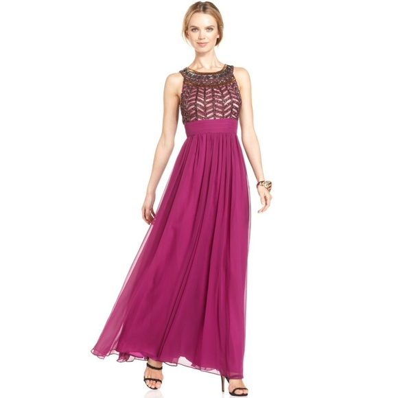 JS Collections Dresses | Purple Beaded Empire Chiffon Gown 8 | Poshmark